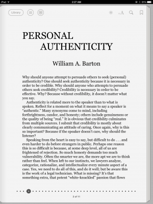 iPad App - Personal Authenticity 2